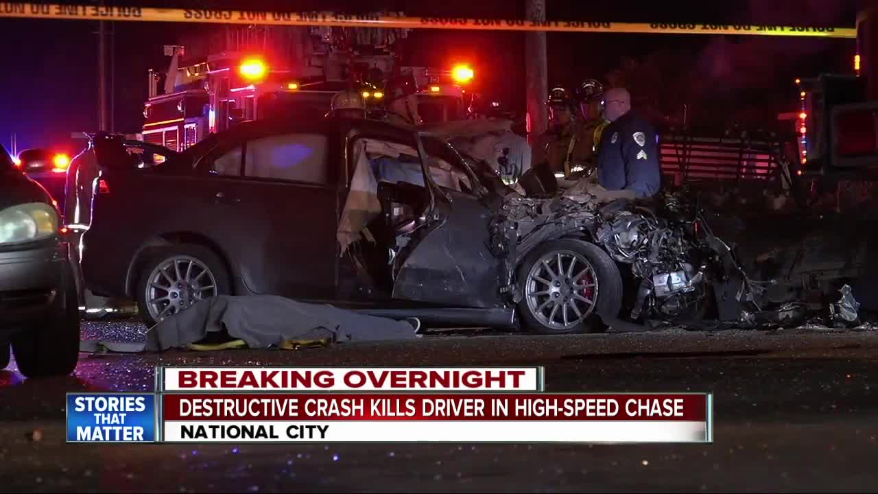 High-speed chase in National City ends in crash