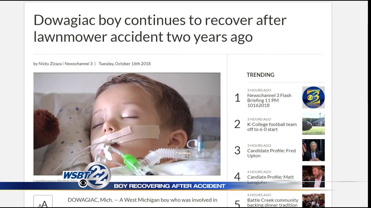 Dowagiac boy recovering after lawnmower accident two years ago