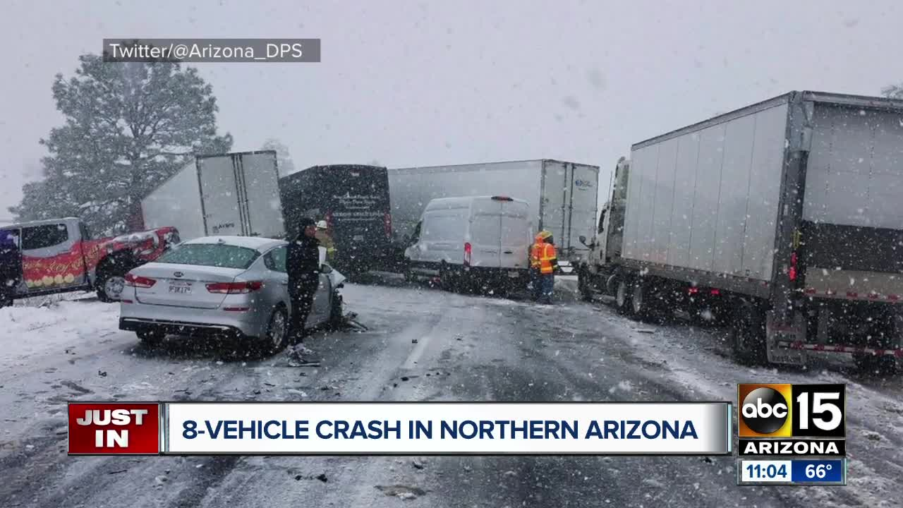 DPS: Eight vehicle crash caused by icy roads closes I-40