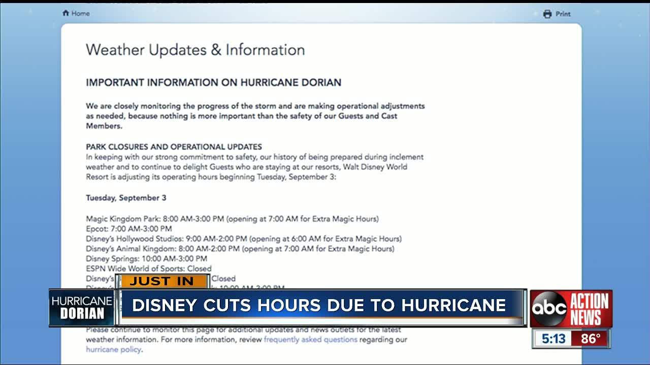 Disney parks closing early Tuesday for Hurricane Dorian