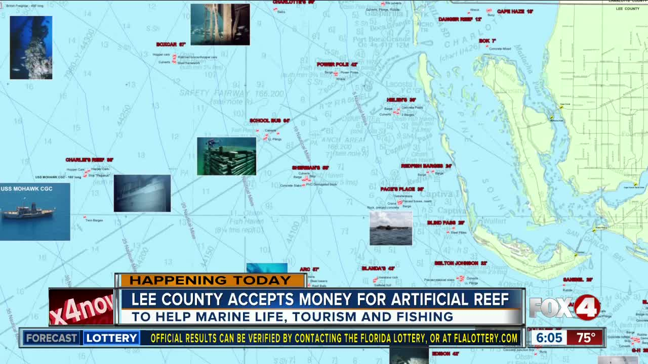 Florida Artificial Reefs Map.Lee County Will Place Artificial Reef In Gulf To Help Marine Life