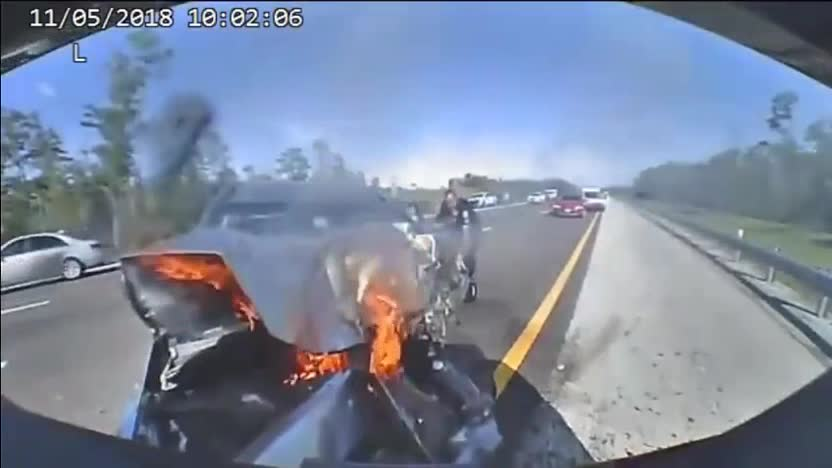 Dramatic Crash Of Car Careening Into Back Of FHP SUV
