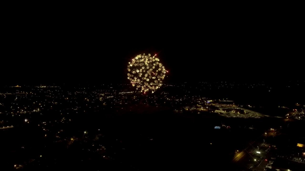 Drone footage displays small fires during fireworks show in Hermiston