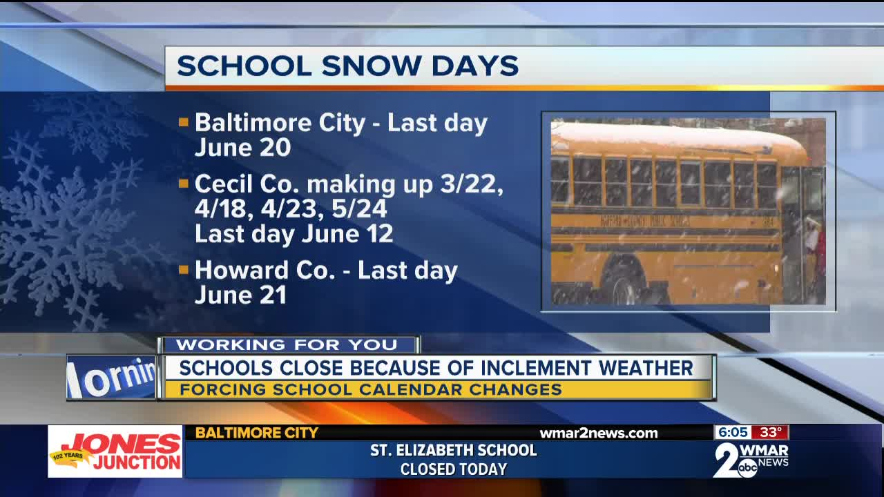 Wednesday Snow Closures Force Counties To Adjust Their School Calendars