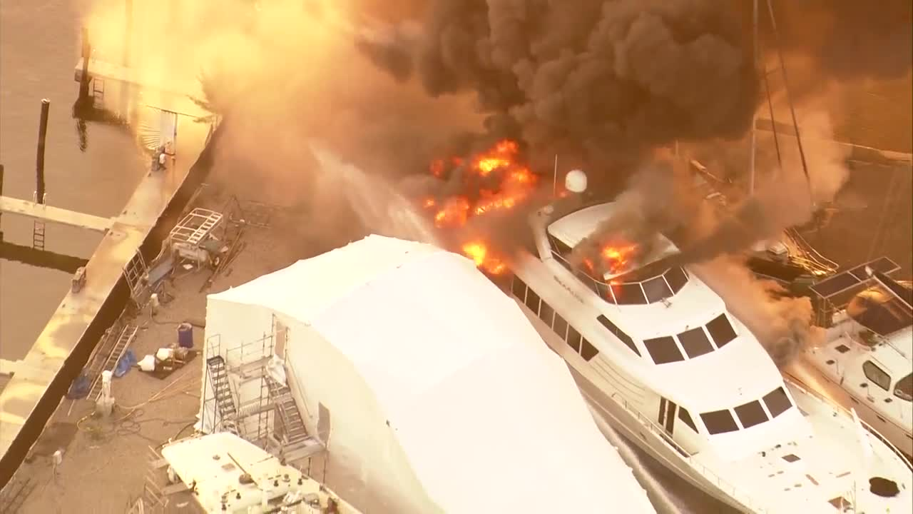 125-foot yacht engulfed by flames in Riviera Beach