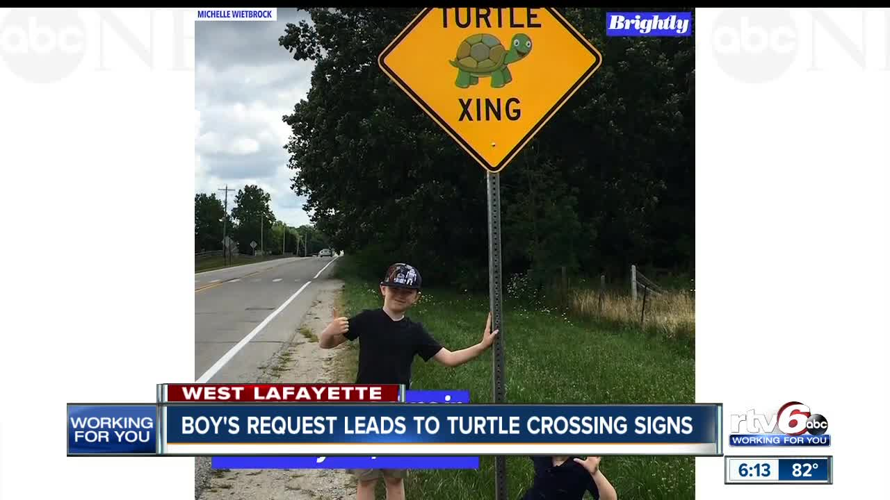 West Lafayette second-grader's request leads to turtle crossing signs