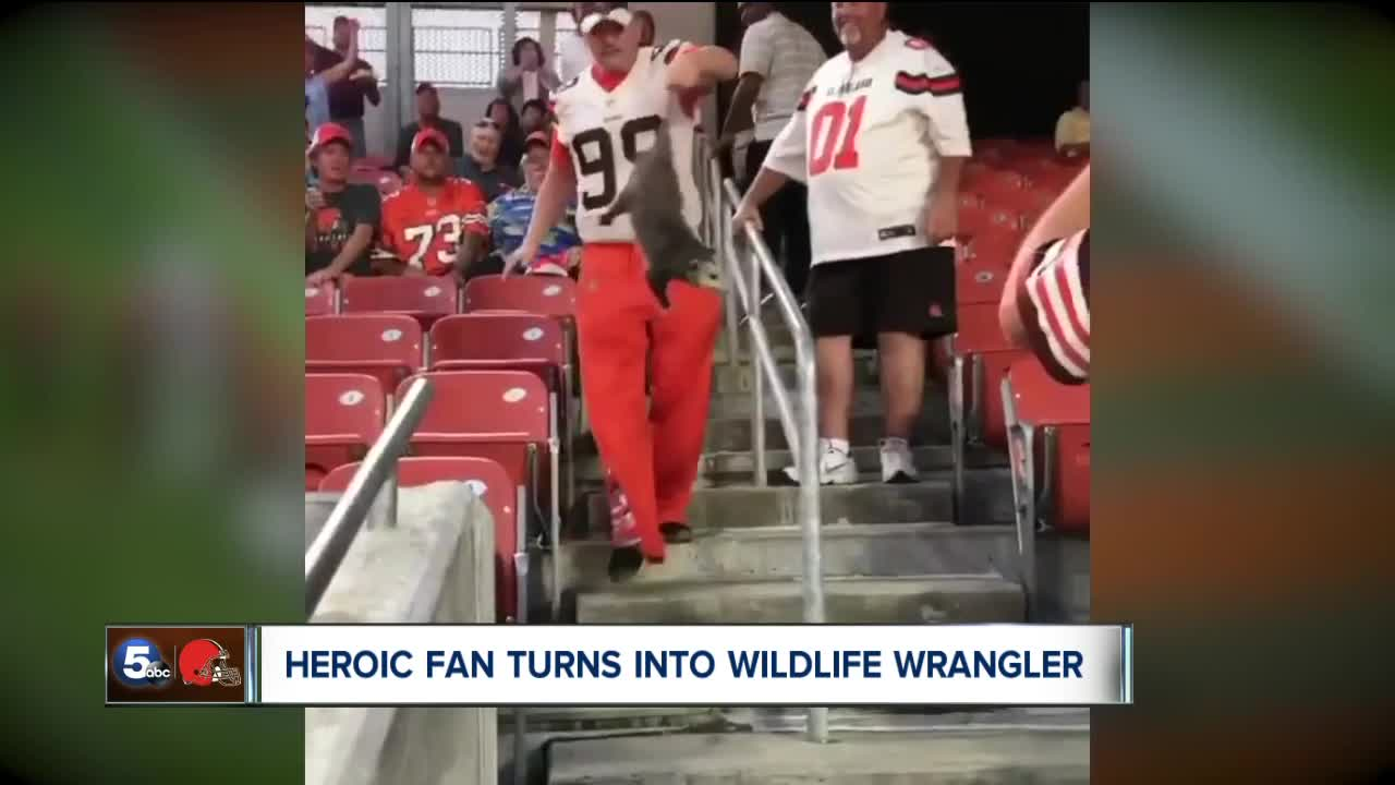ee320e88b7b Legend who corralled opossum at Browns game had no previous opossum-corralling  experience