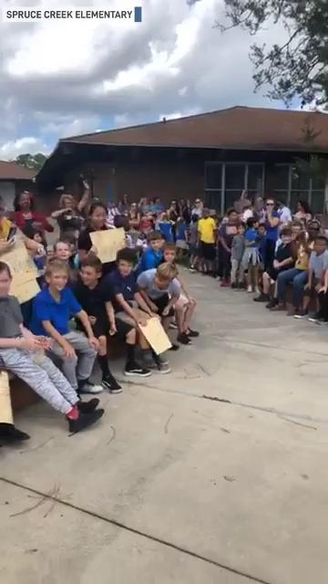 Military dad surprises son at Florida school