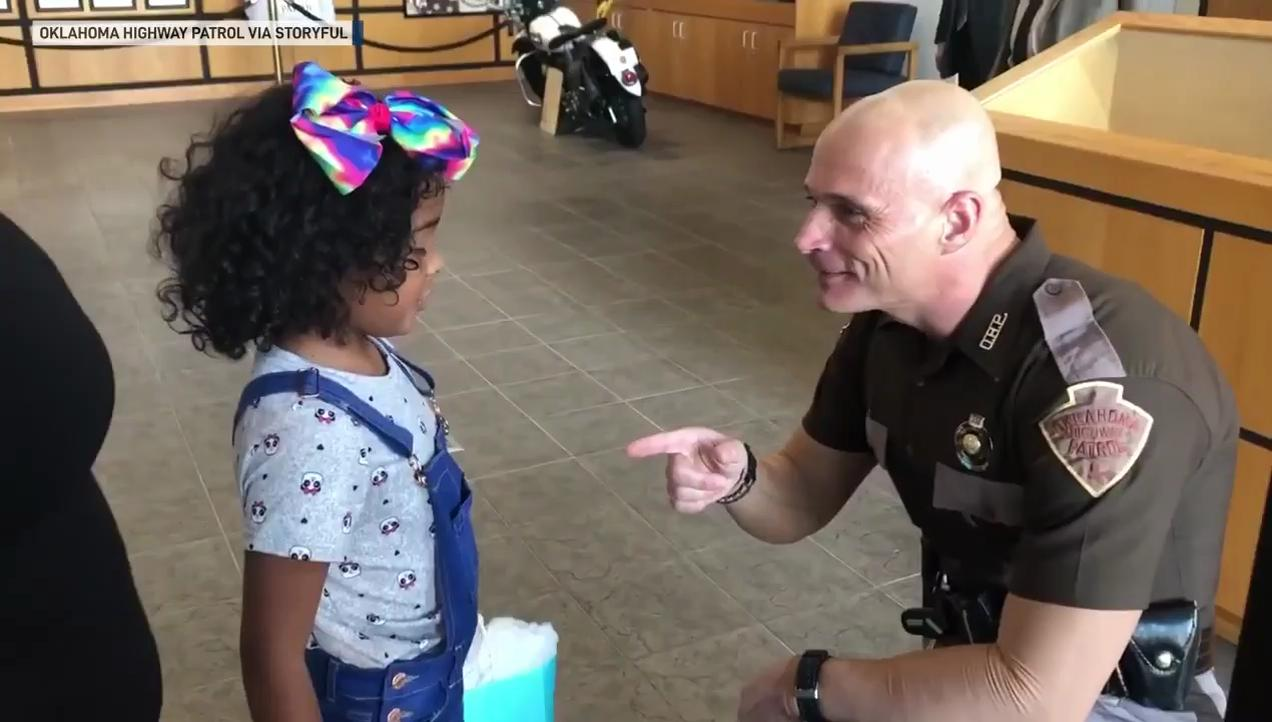 Girl meets Oklahoma trooper who saved her life