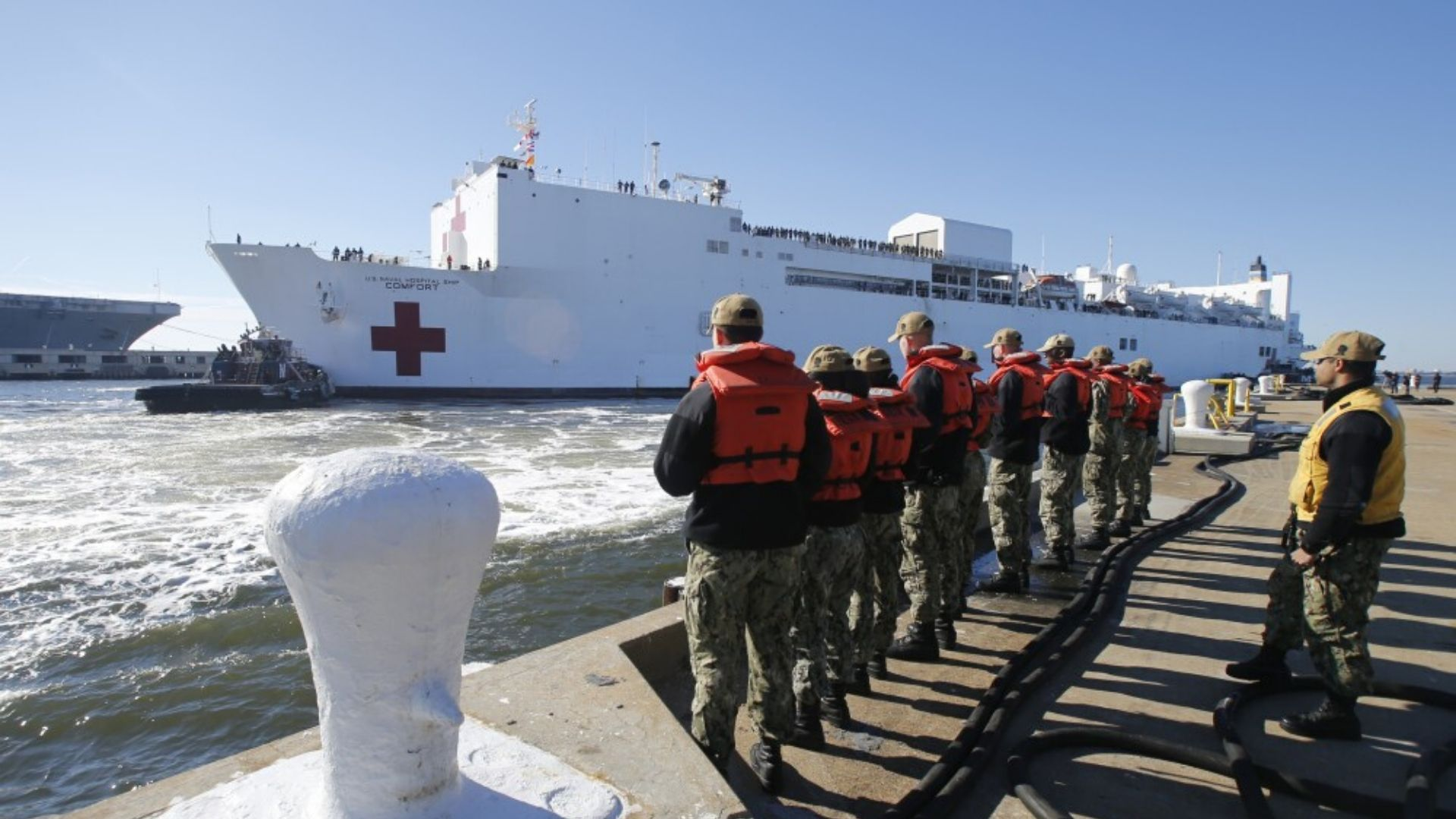 Hospital Ship Passes Statue of Liberty as It Arrives in New York