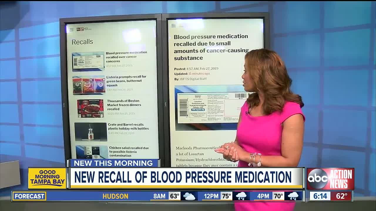 Blood pressure medication recalled due to small amounts of