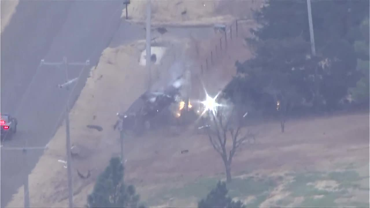 Car rolls into power line after Oklahoma police chase [VIDEO]