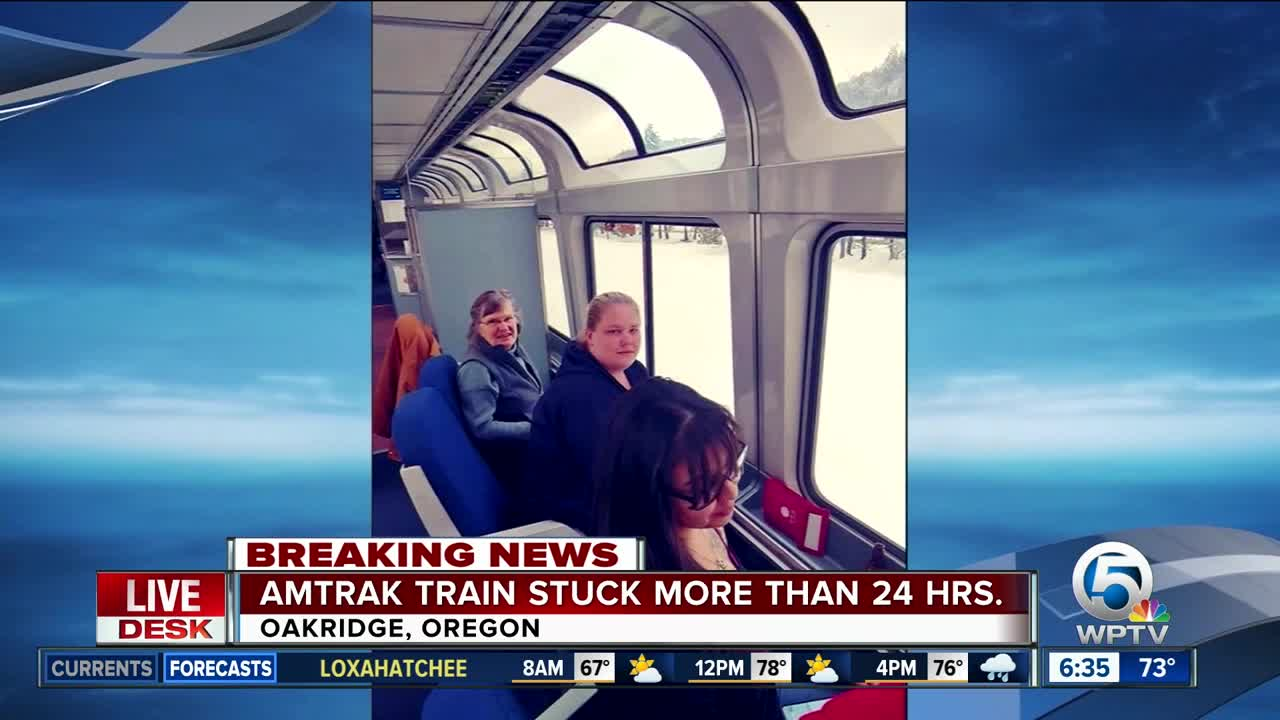 Relief Crew Reaches Amtrak Train Stuck In Oregon Snow