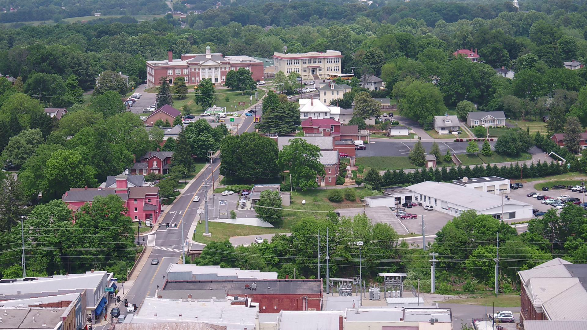 SKY13 over main street in Bedford