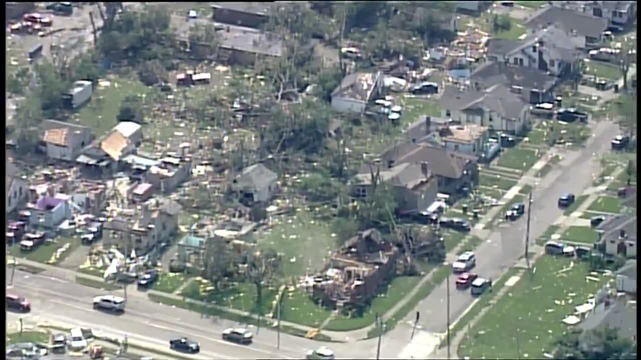 Tornadoes felled power lines, ruined houses, claimed only