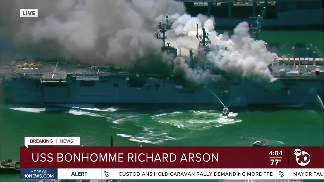 Sailor investigated for possibly starting fire on Navy ship USS Bonhomme Richard
