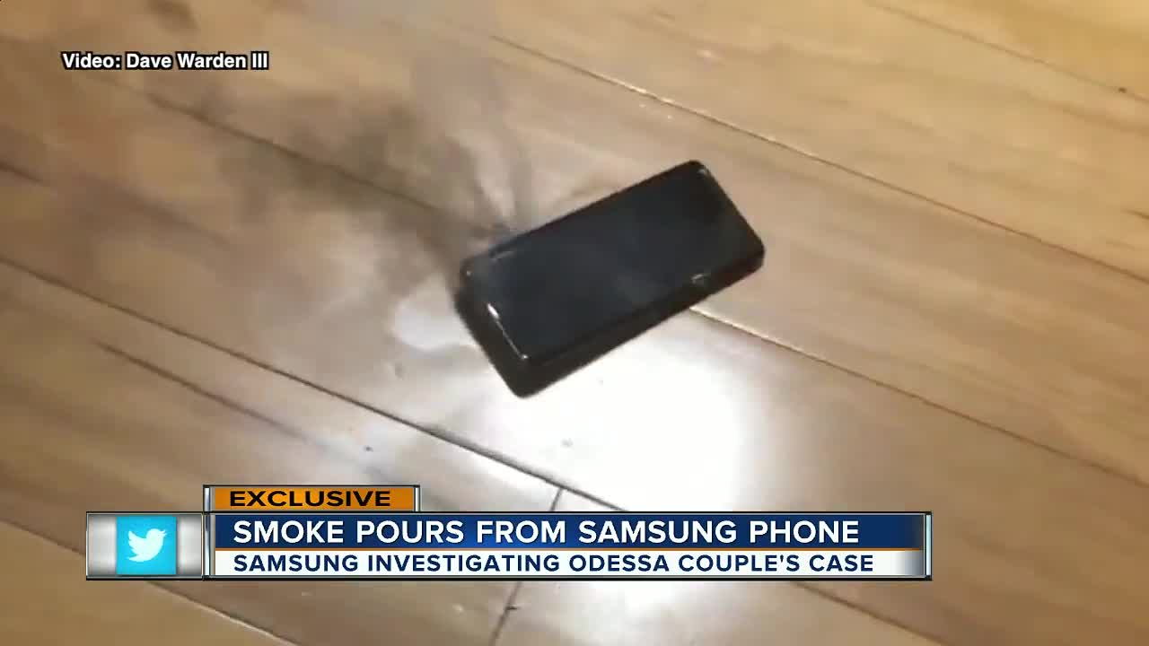 Samsung Galaxy 9 phone catches fire, burning Odessa man