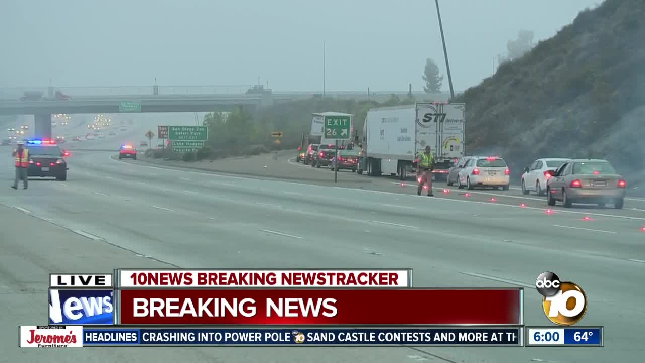 Man hit multiple times on I-15 in Rancho Bernardo area