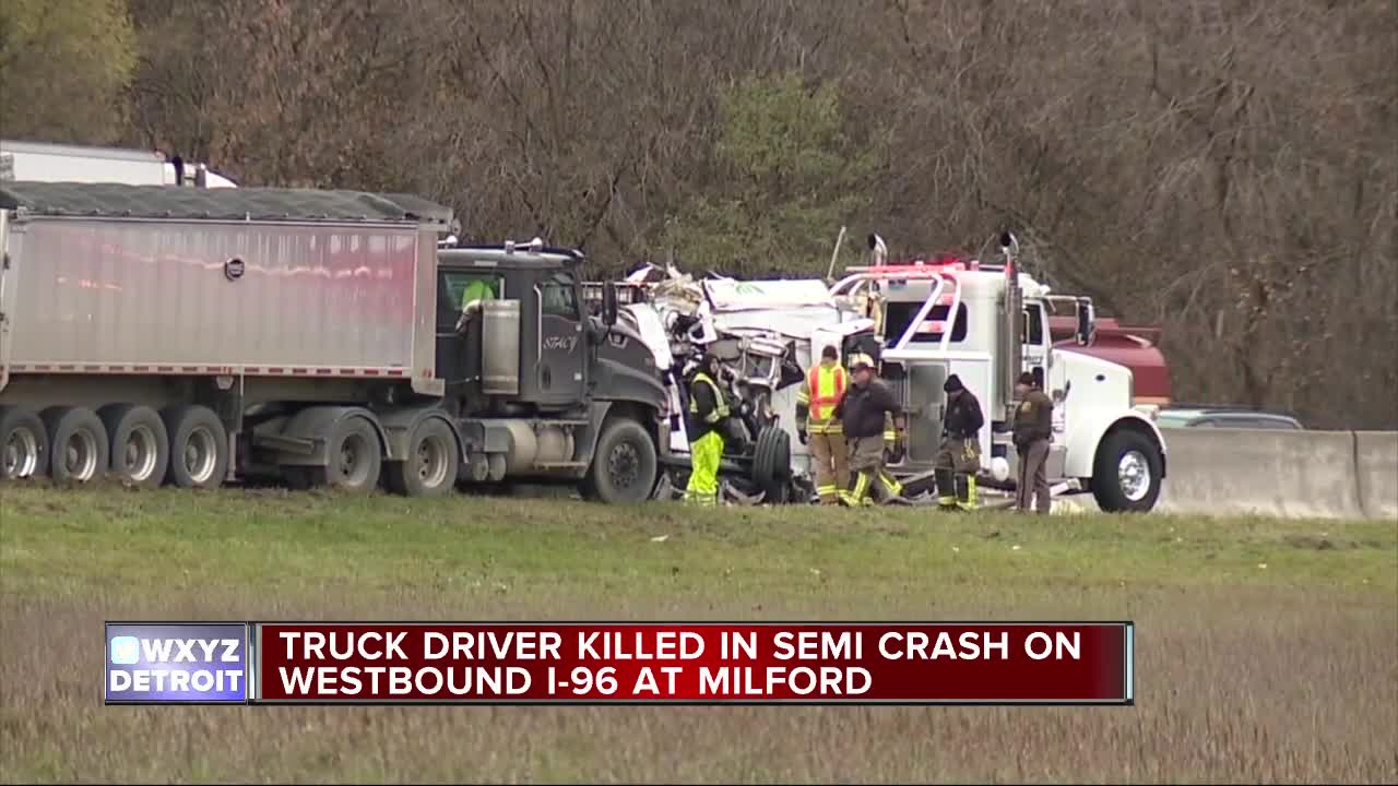 Man killed after box truck hits semi on I-96 at Milford Rd