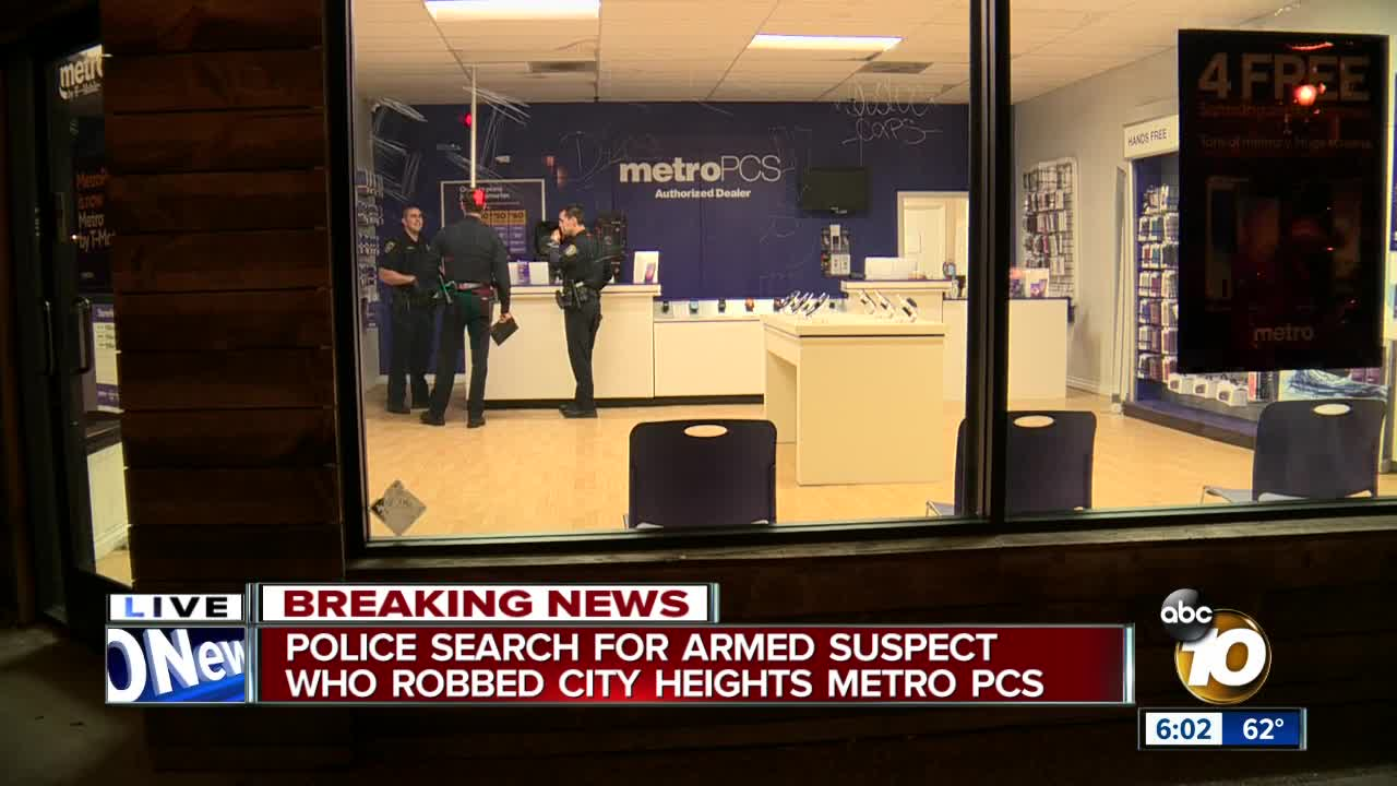 Police searching for City Heights cellphone store robbery