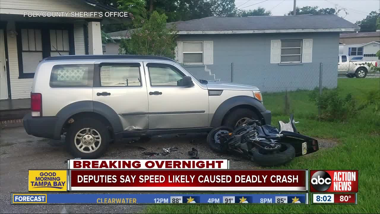Motorcyclist dies after slamming into parked SUV in Lakeland