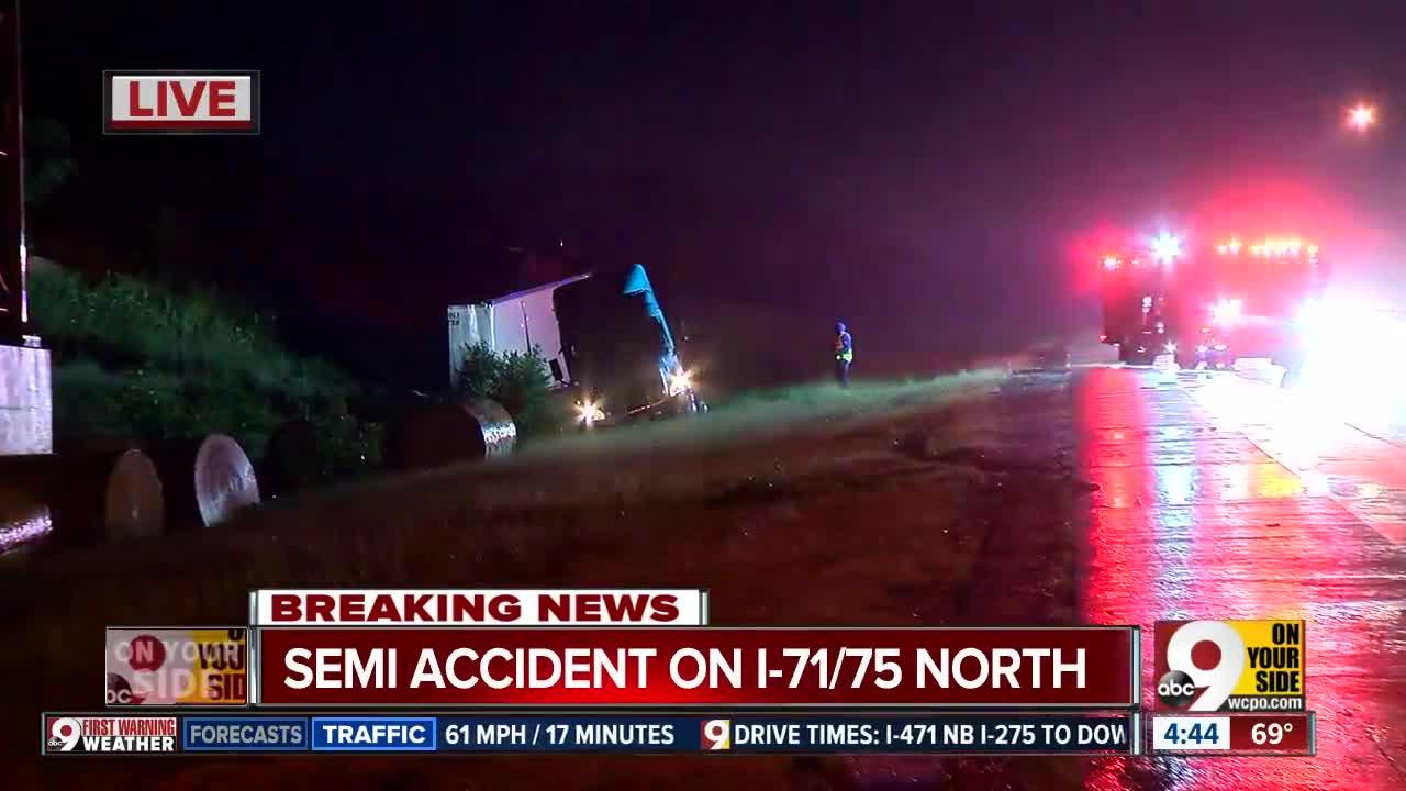 Semi crash snarls traffic on I-71/75 in Northern Kentucky