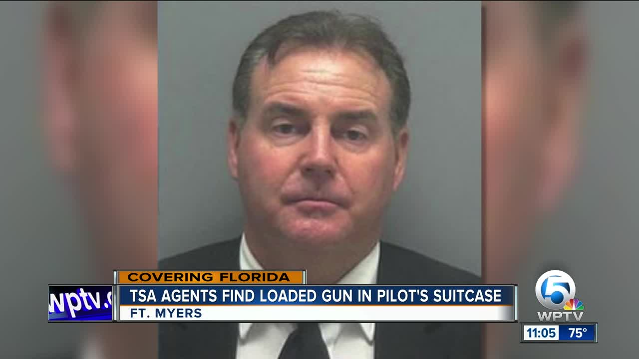 Airline pilot arrested Florida TSA security loaded handgun luggage pictures