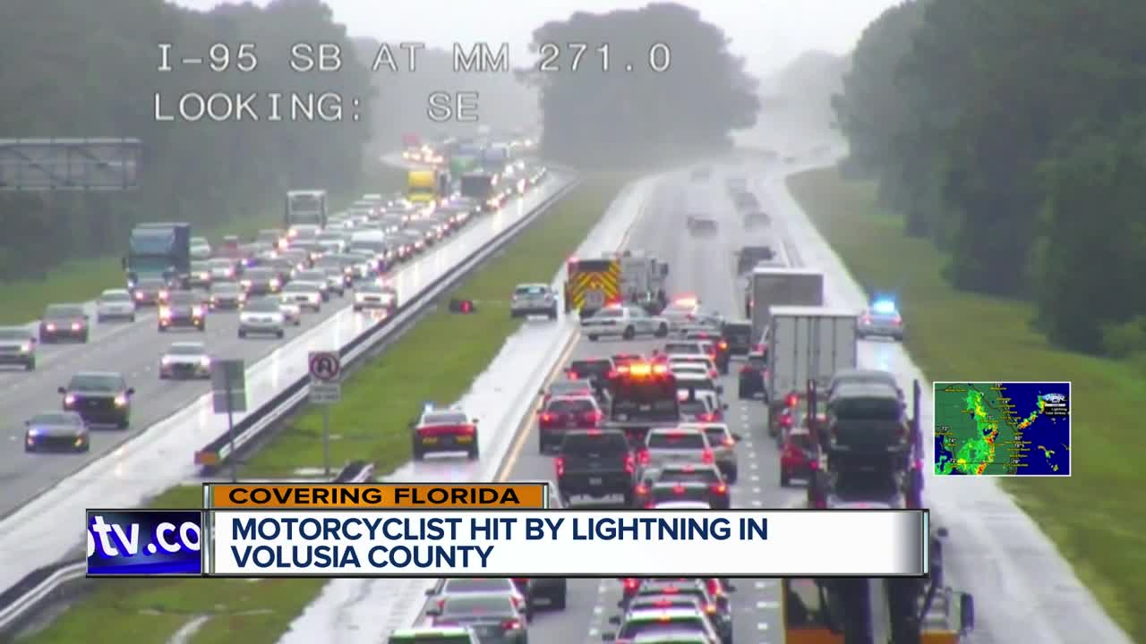 Motorcyclist dies after being struck by lightening while riding on I-95