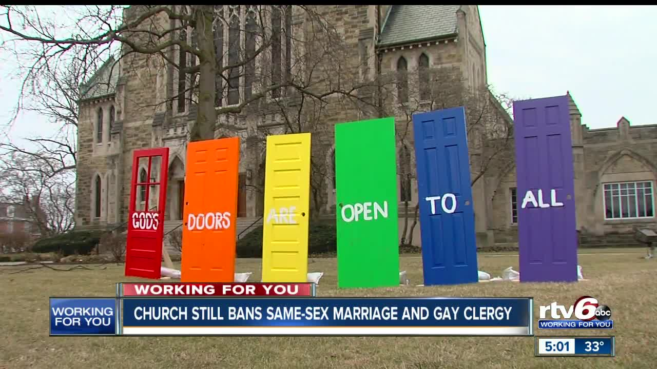 Churches in Indianapolis with opposing views of Methodists stance against  LGBT clergy