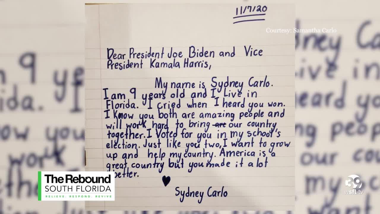 Florida Girl 9 Writes Letter To President And Vice President Elects Joe Biden And Kamala Harris
