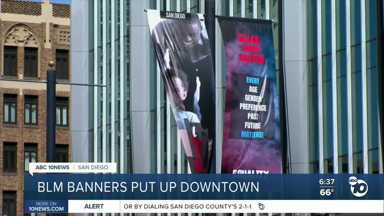 San Diego Artist Creates Black Lives Matter Banners For Display On Downtown Street