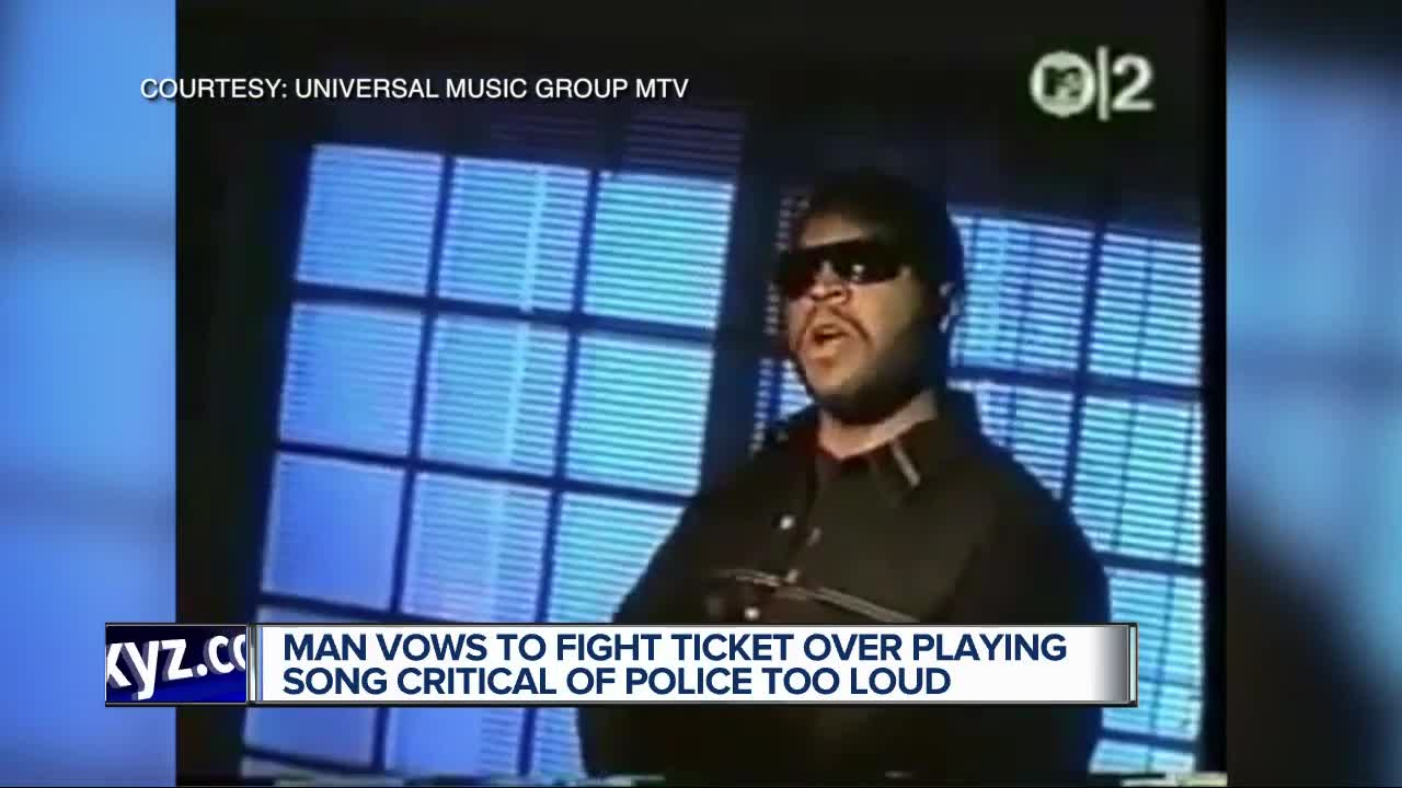 Man says he was ticketed for playing song with anti-police