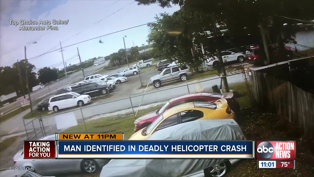 Helicopter crashes onto busy Tampa highway, rotor blade hits