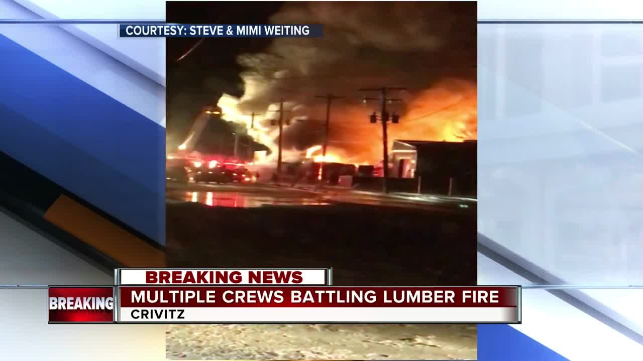 Multiple Fire Departments Battle Fire At Crivitz Lumber