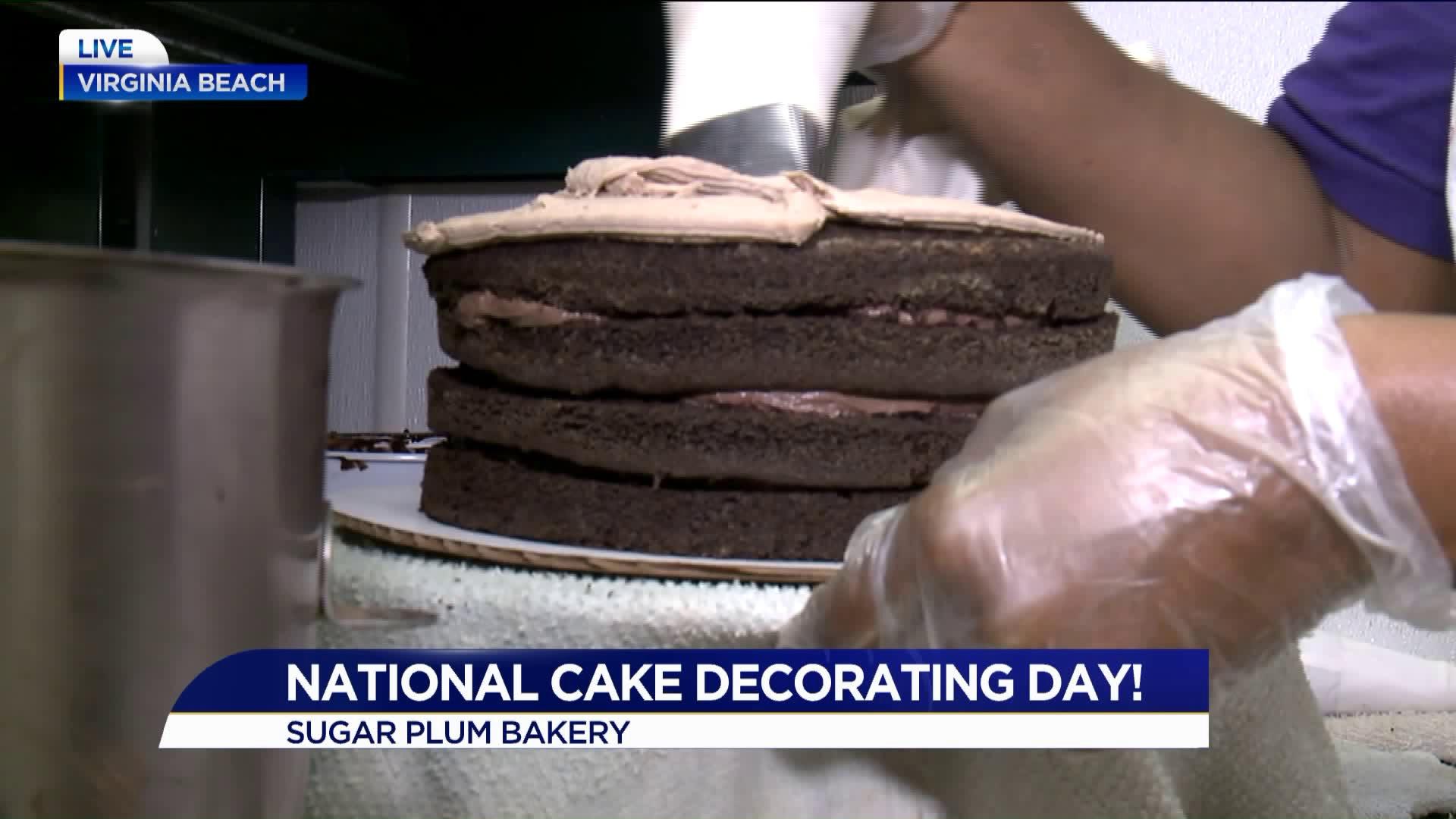 Cake decorating at Sugar Plum Bakery