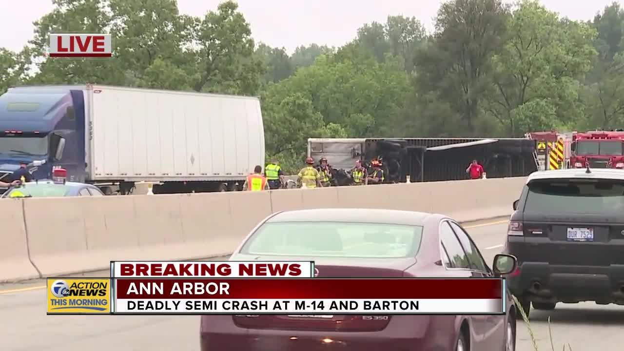 Fatal crash involving semis closes M-14 in Ann Arbor, diesel