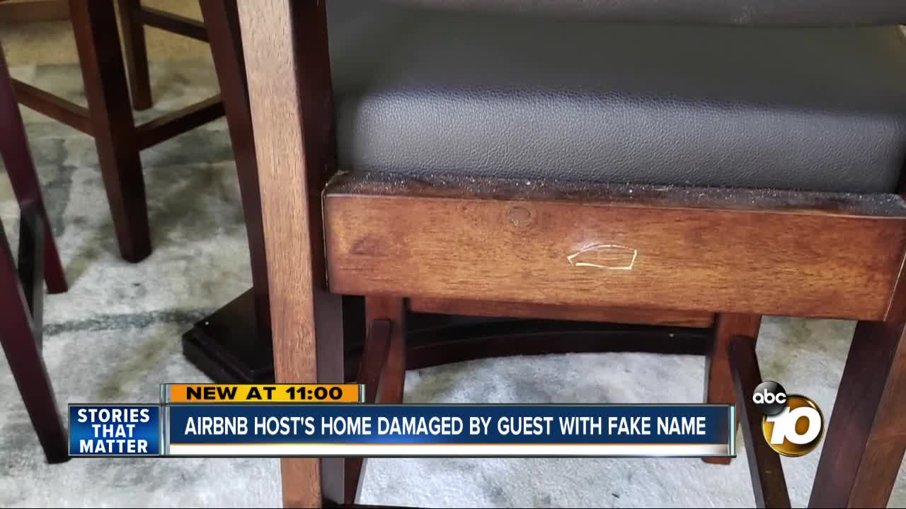 Airbnb host says home was damaged by guest with fake name