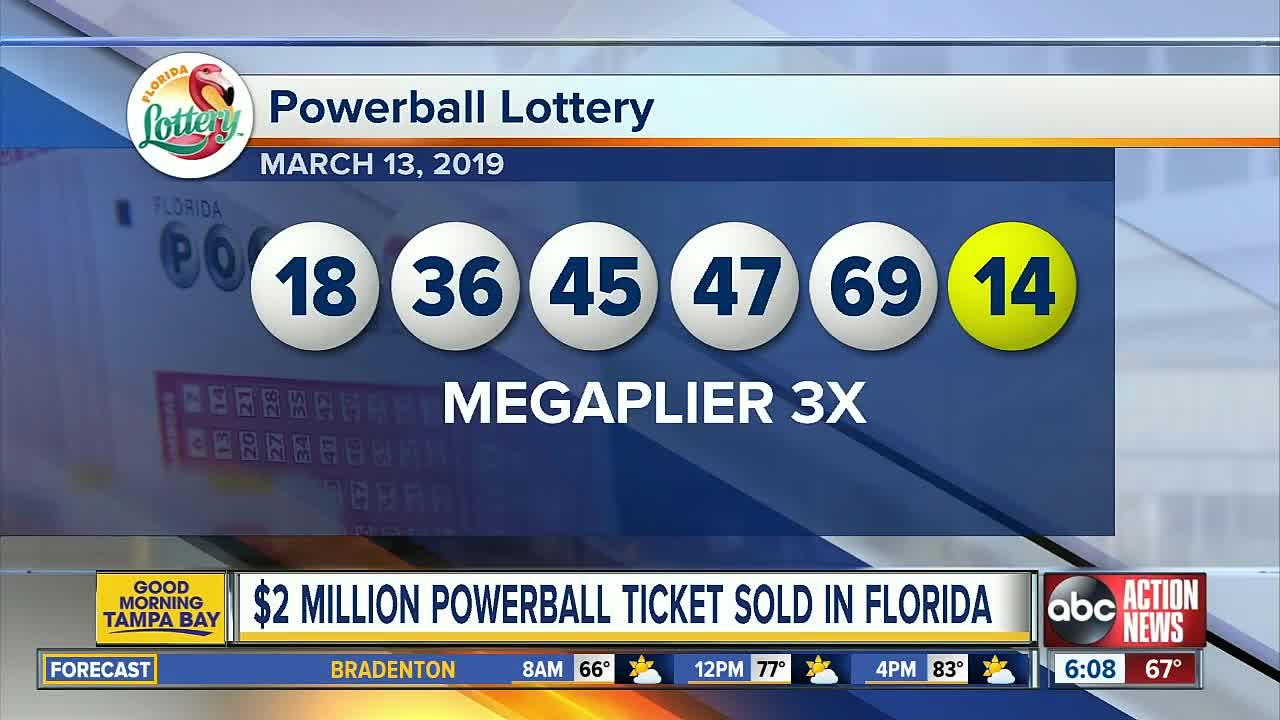 Powerball winning numbers for 03/13/2019; jackpot $448 million