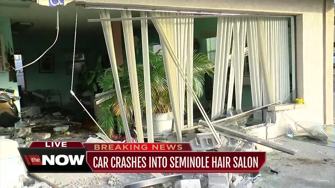 Car crashes through beauty salon on Seminole Blvd  in Pinellas County