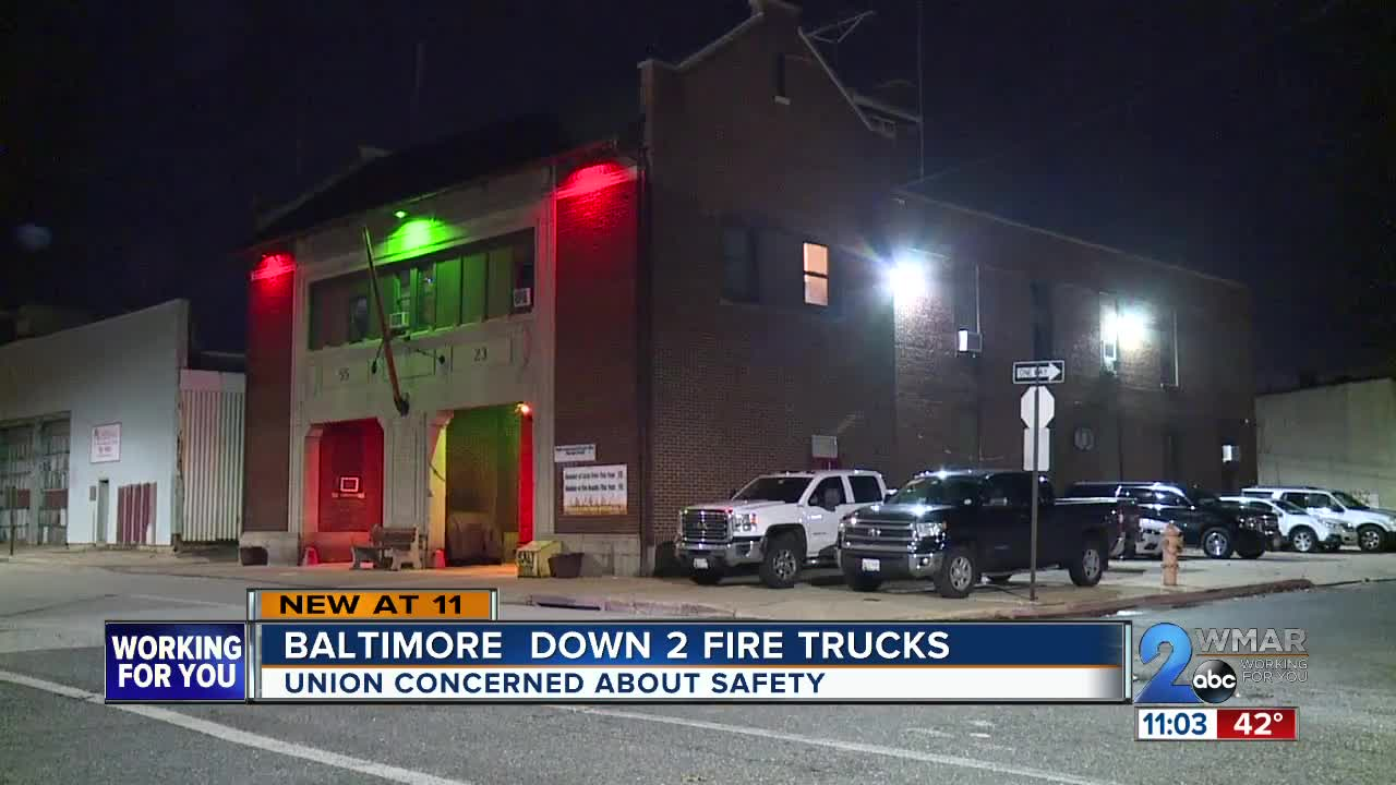 Baltimore City Down Two Fire Trucks, Union Concerned About