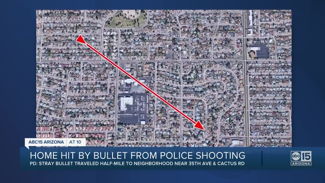 Stray bullet from man involved in police shooting travels half-mile, narrowly missing homeowner