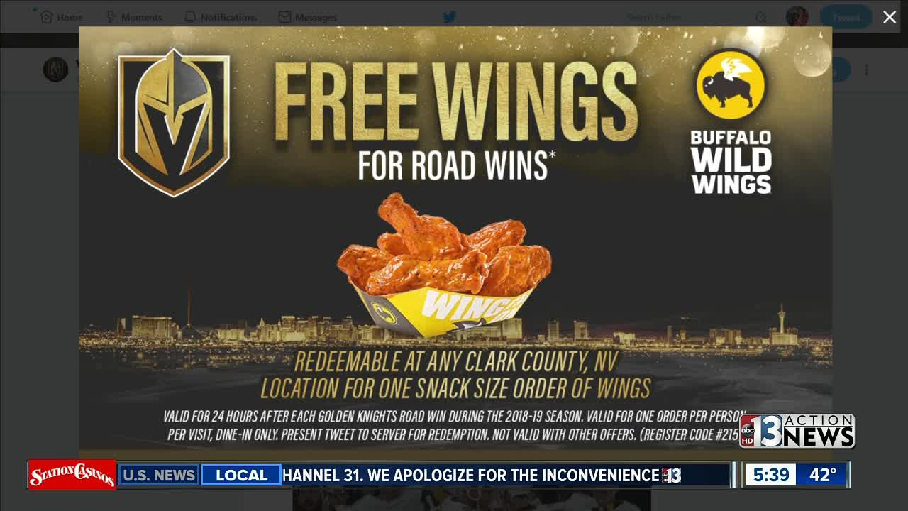How to get free wings if Vegas Golden Knights win on road