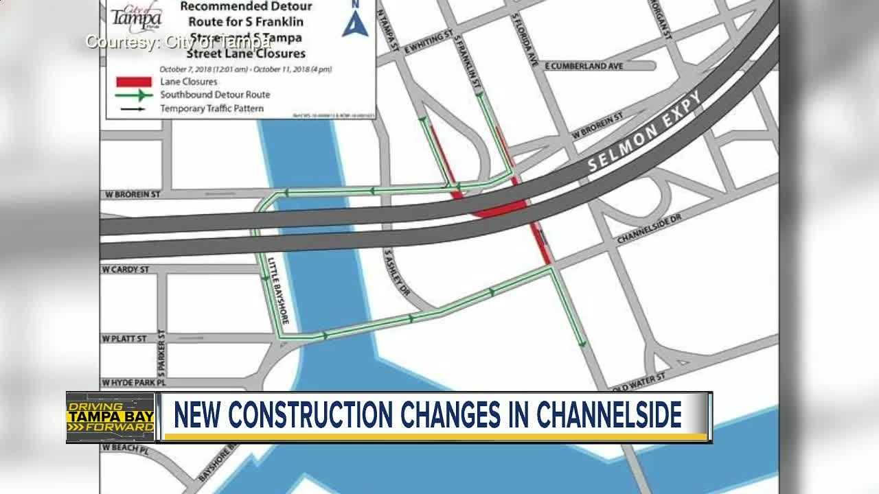 Temporary lane closures on S Franklin Street and S Tampa
