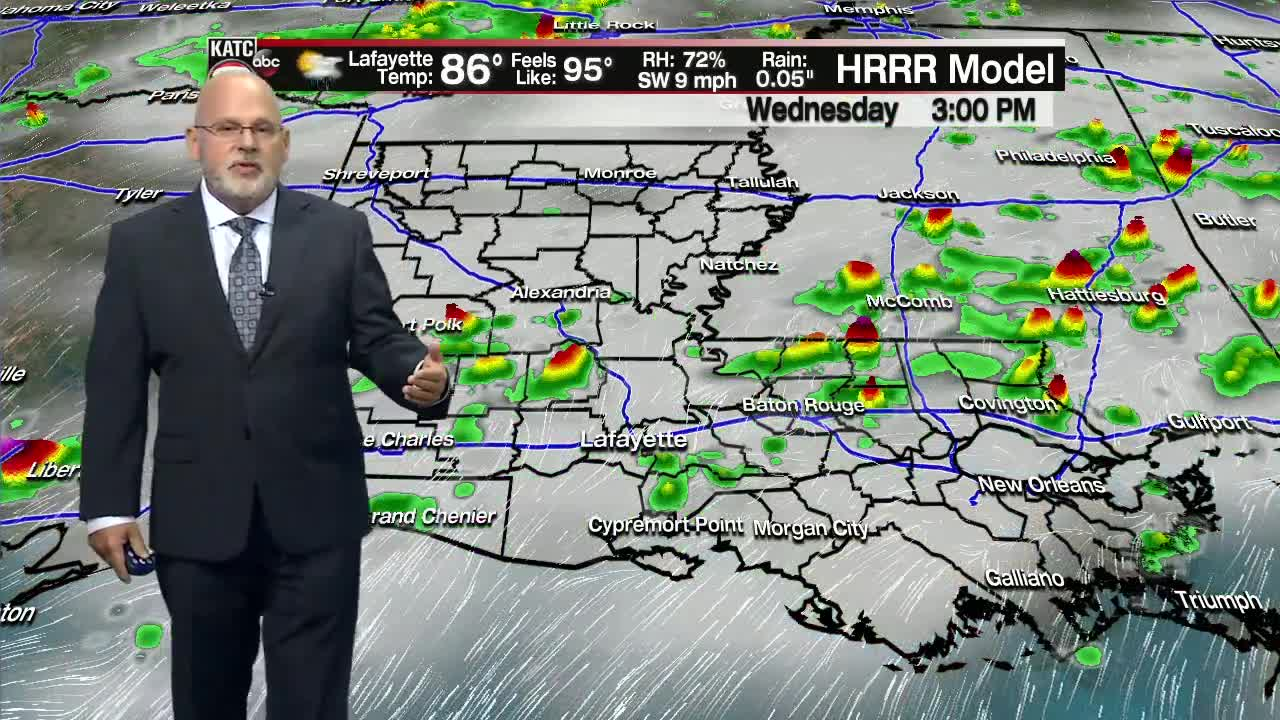 Tracking lots of rain and t'storm chances the next several days