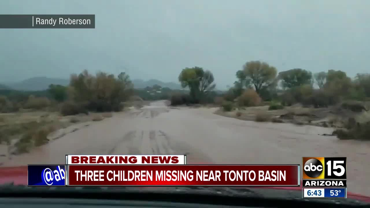 Three children missing after vehicle swept away by floodwaters in Arizona