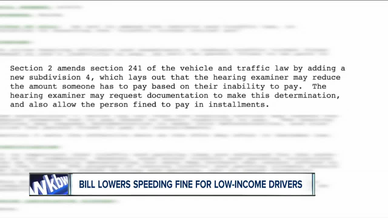 Bill reduces traffic ticket fine for low-income drivers
