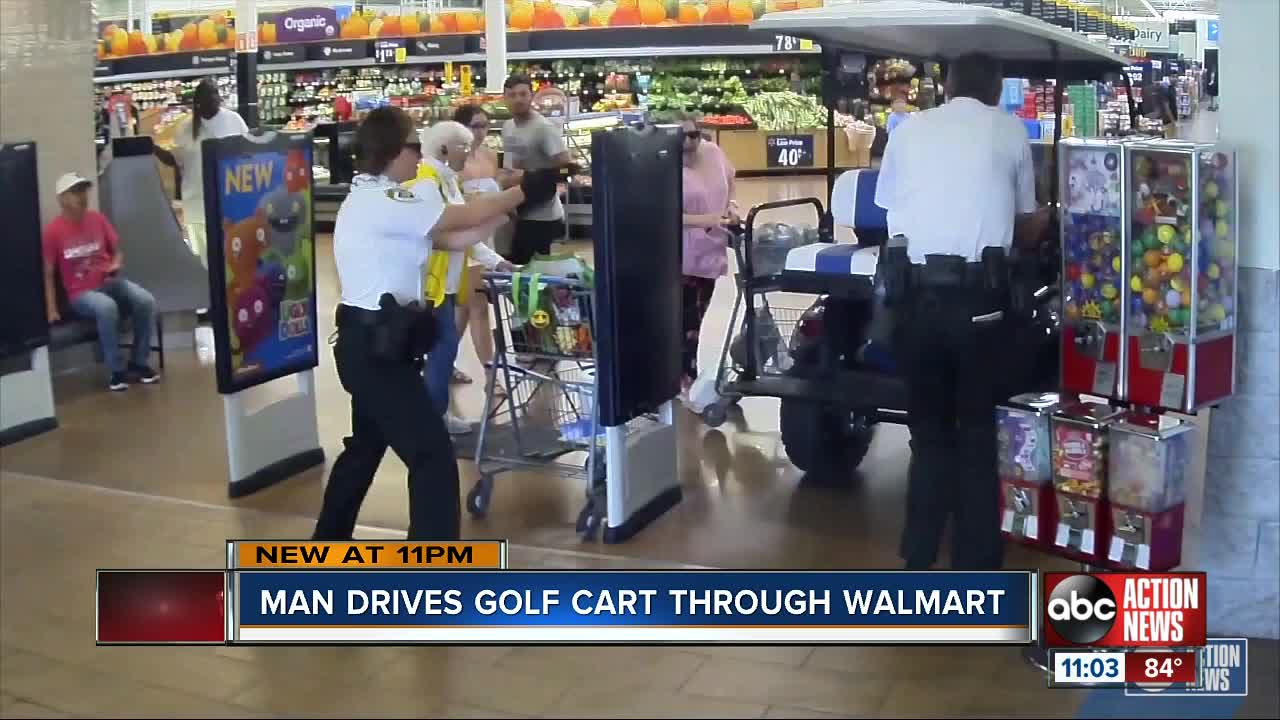 Florida man drives golf cart into Walmart as deputies chase him with
