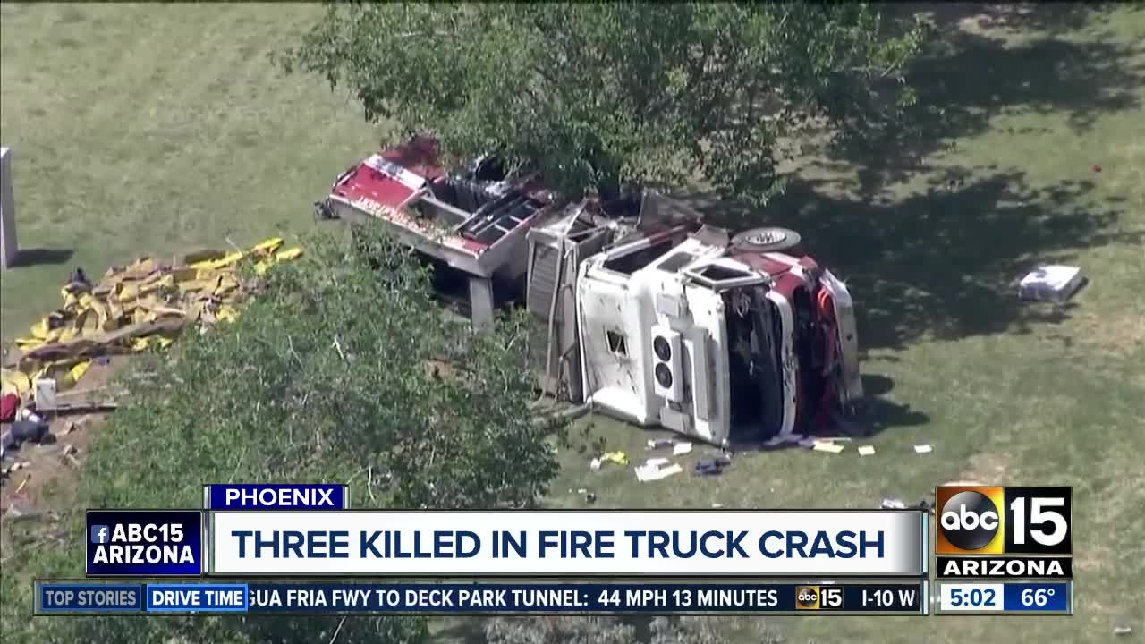 PD: 3 civilians killed, 3 firefighters seriously hurt in crash