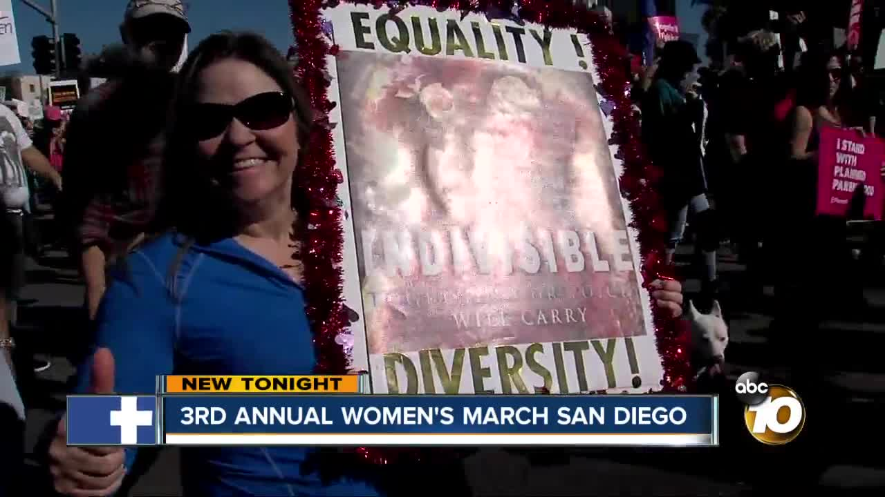 San Diego demonstrators gather at Women's March event