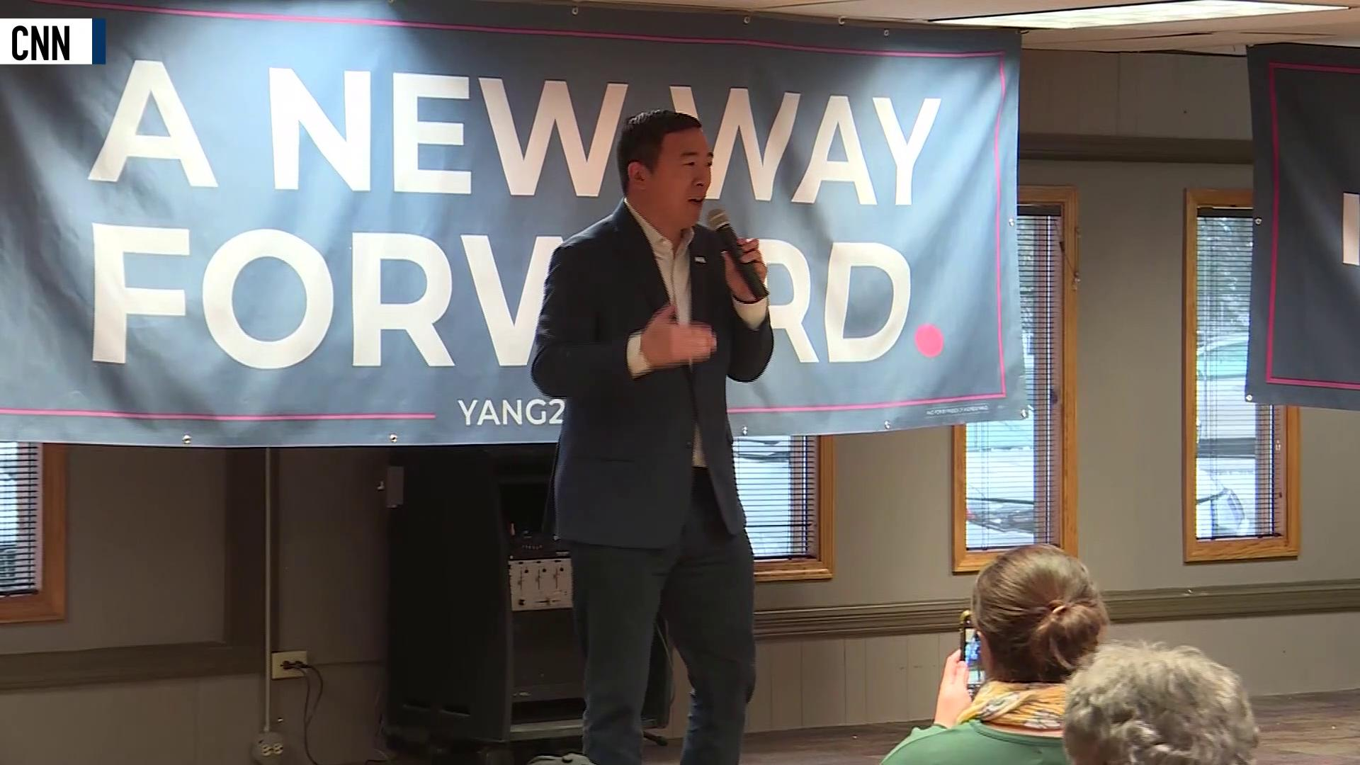 Supporters sing 'Happy Birthday' to Andrew Yang